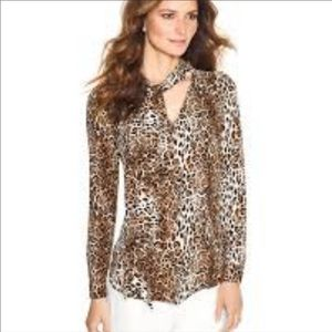 WHBM Leopard sz 14 Pussy bow button front shirt